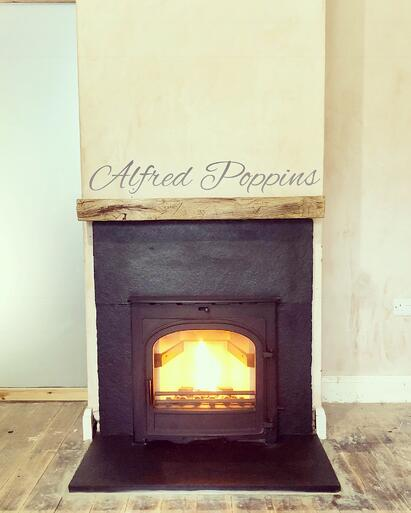 Black Limestone Firehearth by Alfred Poppins
